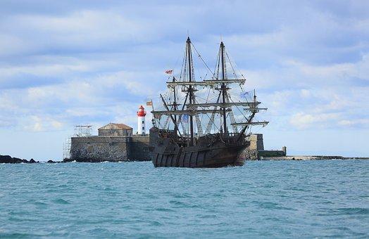 Sea, Blue, Boat, El Galleon Inferior Cove Of Lucia