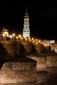 Bridge, Night, City, River, Architecture, Lights