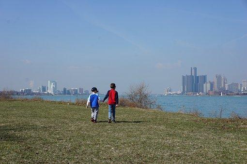 Brothers, Boys, Detroit, Walking, Belle Isle