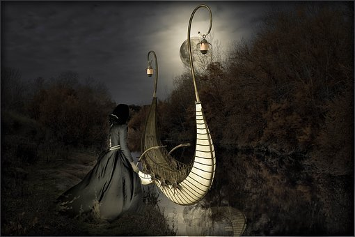 Fantasy, River, Lady, Elves Boat, Mysterious, Nature
