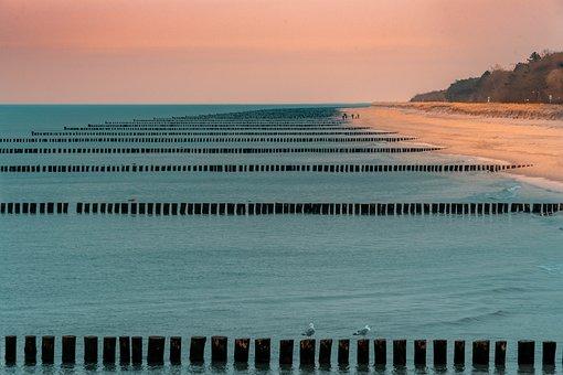 Baltic Sea, Groynes, Zingst, Fischland-darß, Beach