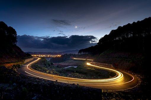 Dalat, Vietnam, Street, Airport, Mountain, Night, Light