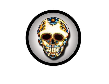 Skull, Circle, Colorful, Day, Dead, Symbol, Mexico