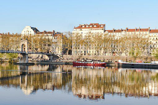 Lyon, Bridge, Mirror, Water, France, Architecture