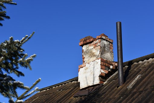 Roof, Old, House, Trumpet, Fireplace, Sky, Spruce