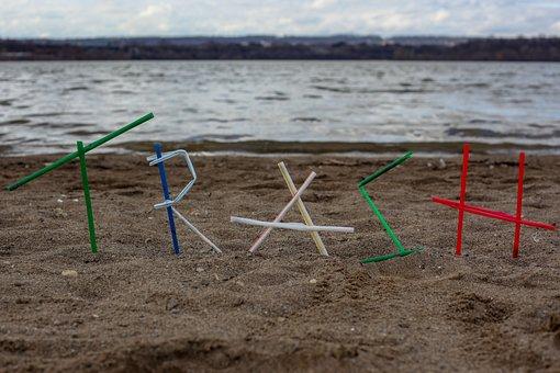 Garbage, Plastic, Beach, Pollution, Straws