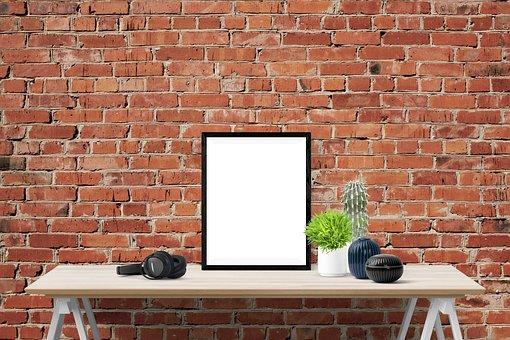 Poster, Frame, Wall, Desk, Plants, Brick, Headphone