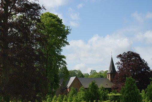 Field, Belgium, Roof, Church, Trees, Promenade