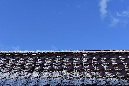 Roof, Snow, Sky, Spring, Clouds