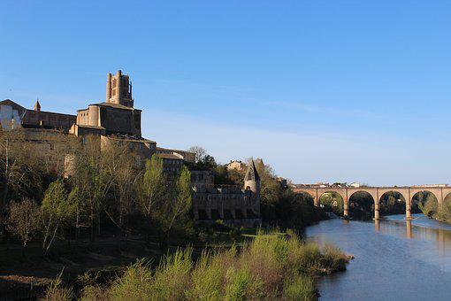 Albi, Pink, Sky, Cathedral, Cécile, Spring, Blue, Red