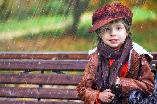 Rain, Boy, Baby, Autumn, Spring, Kids, Partly Cloudy