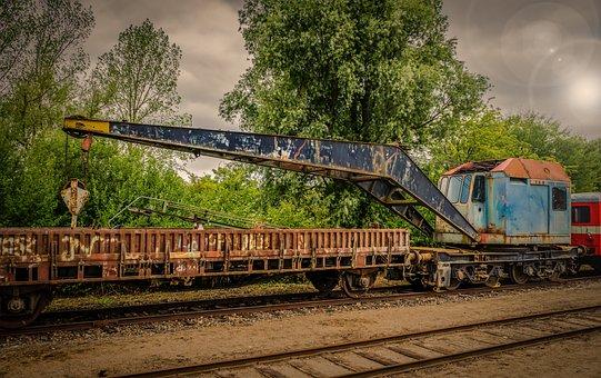 Railroad Crane, Truck Mounted Crane, Iron, Steel, Old