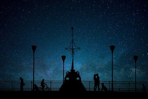 Night, Stars, Bridge, Couple, Romance, Dog, From