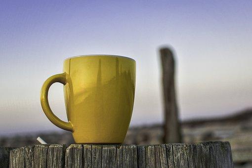 Cup, Yellow, Beach, Coffee, Tea, Drink, Evening, Break