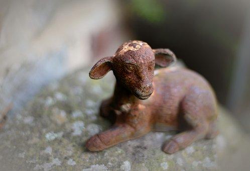 Passover, Lamb, Figure, Sculpture, Metal, Iron, Rusty