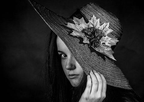 Hat, Black, White, That, Girl, Woman, Portrait, Young