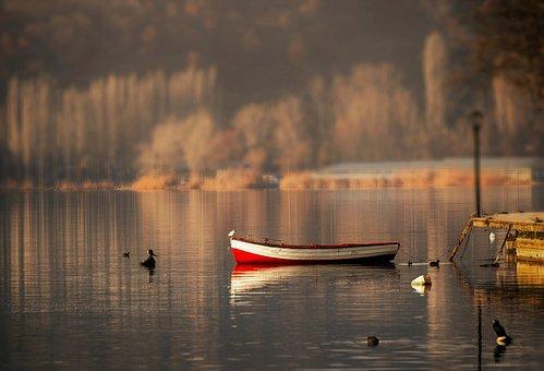 Boat, Calm, Lake, Waters, Nature, Ocean, Beach, Sunset