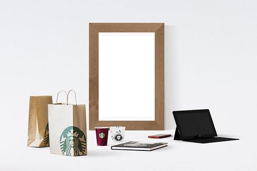 Poster, Frame, Laptop, Book, Smartphone, Cup, Paper Bag