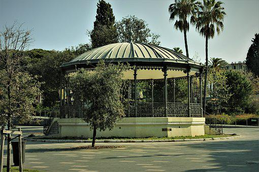Park, Garden, Rotunda, Green, Landscape, Palm Trees