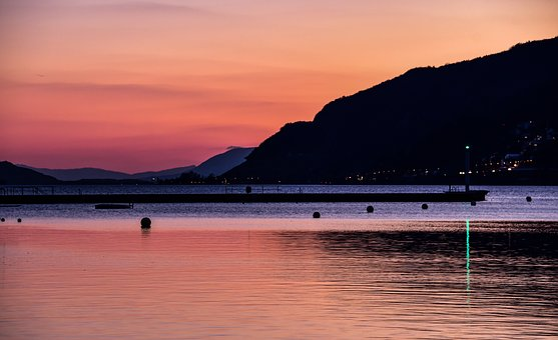 Sunset, Lake, Reflection, Pier, Evening, Twilight