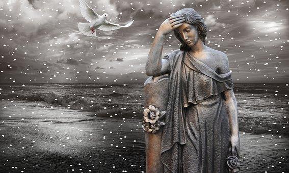Statue, Mourning, Sculpture, Figure, Sad, Silence