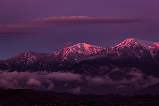 Sunset, Mountains, Snow, Golden Hour, Snow Capped