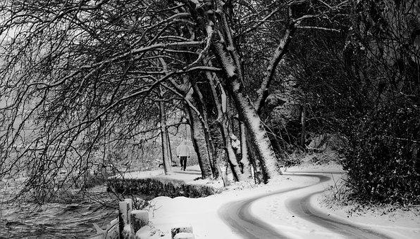 Snow, Black White, Road, People, Street, Urban, Person