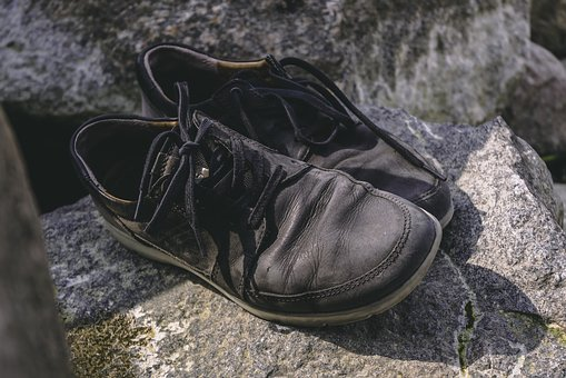 Shoes, Old, Used, Black, Leather, Hiking, Rock, Stone