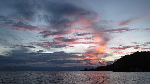 Sunset, Lake, Kivu, Rwanda, Water, Sky, Clouds, Dusk