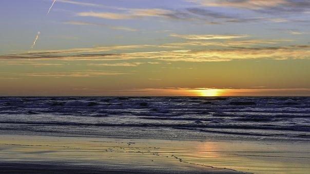 Sunset, Lithuania, Beach, Sunset Sky, Yellow Sunset
