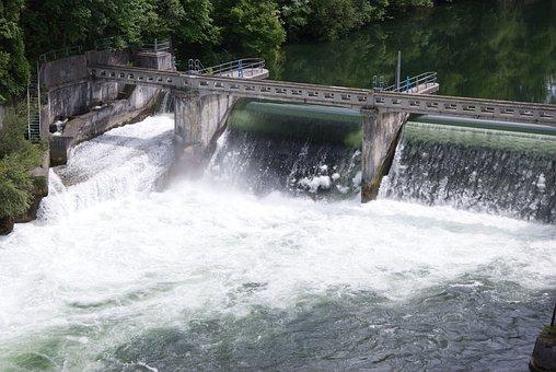 Water, Power Station, Waterfall, Dam, Wall, Waves
