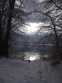 Trees, Sky, Sun, Nature, Atmosphere, Winter, Lake