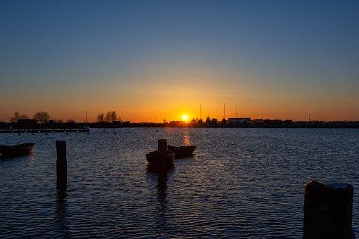 Port, Sunset, Boat, Twilight, Baltic Sea, Sea, Rügen