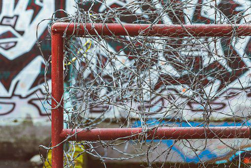 Barbed Wire, Fence, Victoria, Graffiti, Metal, Barrier