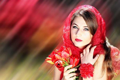 Woman, Beautiful, Red, Flower, Girl, Face, Model