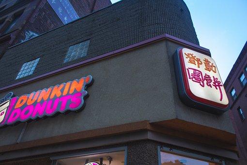 Dunkin, Donuts, Dunking, Boston, Downtown, City, Urban