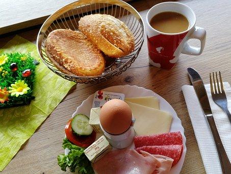 Breakfast, Coffee, Roll, Egg, Breakfast Table