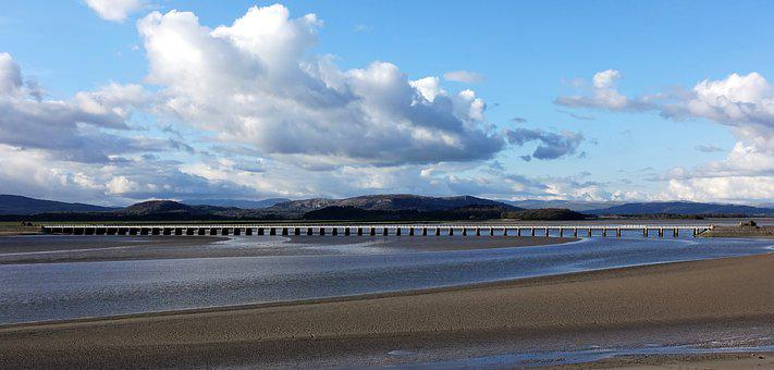 Viaduct, Bridge, Railway, Estuary, Arnside, Cumbria
