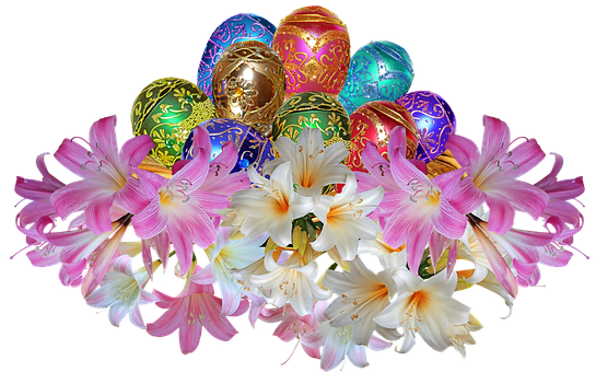 Easter, Eggs, Flowers, Easter Lilies, Decoration