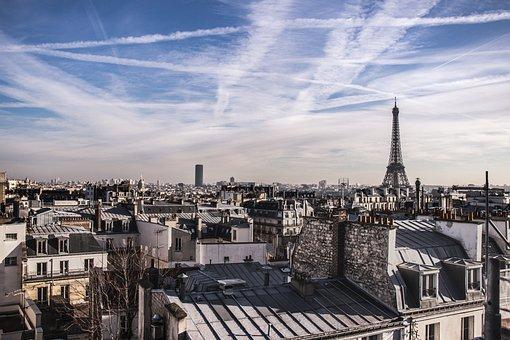 Paris, Eiffel Tower, Roof, Sky, France, Landscape