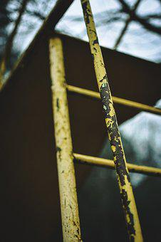 Yellow, Steps, Ladder, Rust, Playground, Iron, Metal