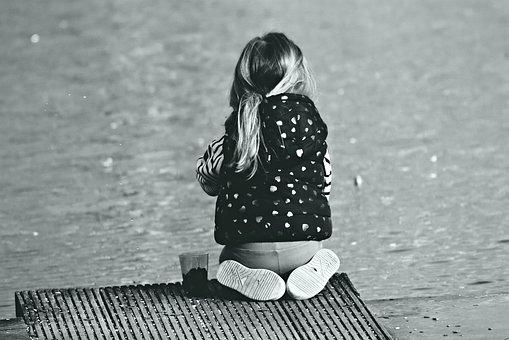 Little Girl, Child, Sitting, Jetty, Pond, Water, Feet