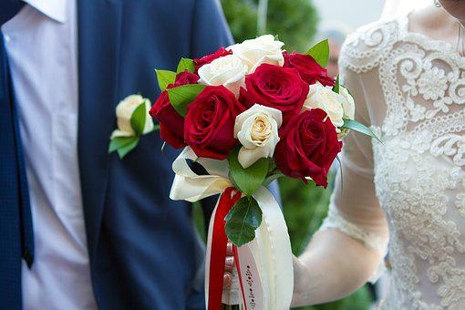 Wedding, Couple, Just Married, Romantic, Bouquet