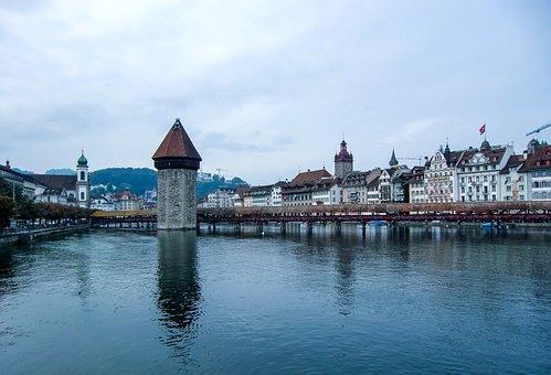 Switzerland, Lucerne, Water, Lake, Blue, Landscape
