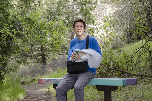 Boy, Man, Perrier, Resting, Hiking, Hike, Student