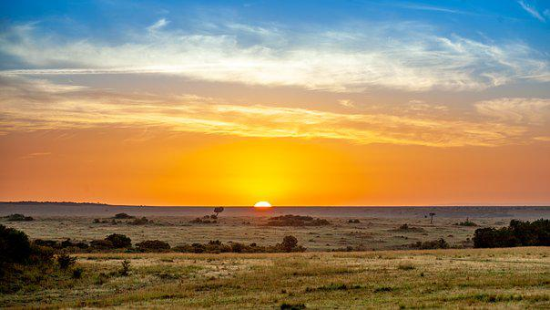 Sunset, Savannah, Kenya, Africa, Safari, Nature