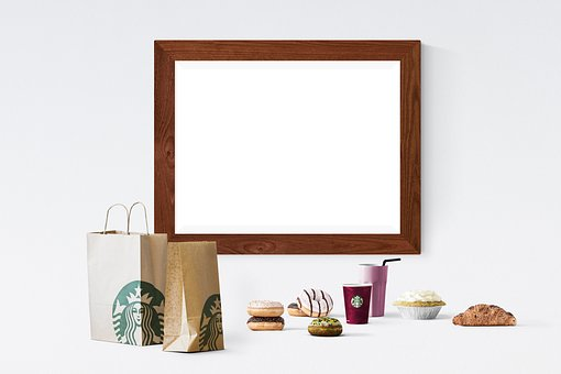Poster, Frame, Paper Bags, Cup, Donuts, Pie