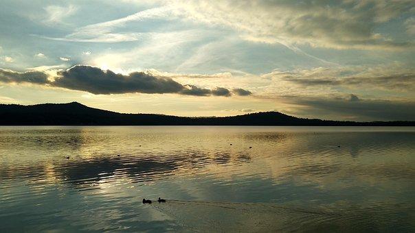 Lake, Viverone, Landscape, Sunset, Italy, Piemonte