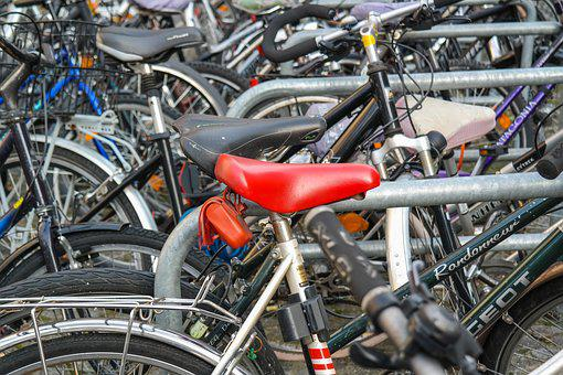Bicycles, Bike, Saddle, Cycling, Mobile, City, Red