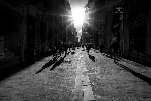 Sun, Shadow, Black And White, City, Bordeaux